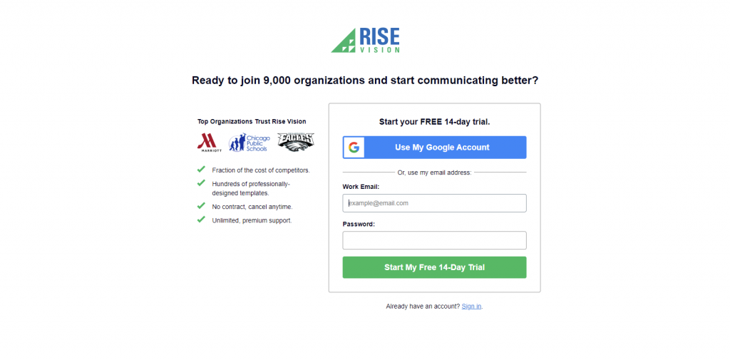 Login to Rise Vision