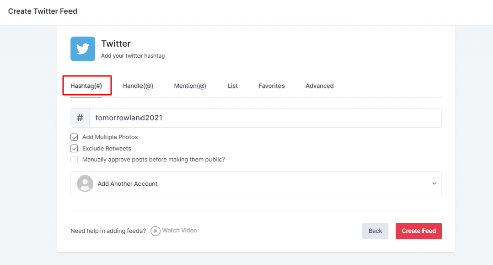 Create Twitter Feed