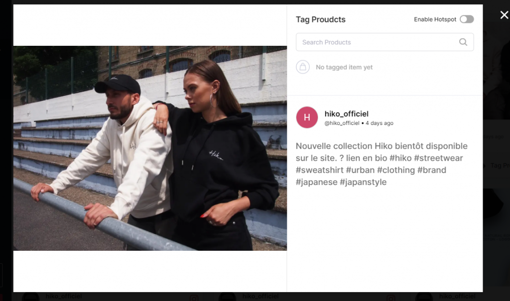 Tag Products popup