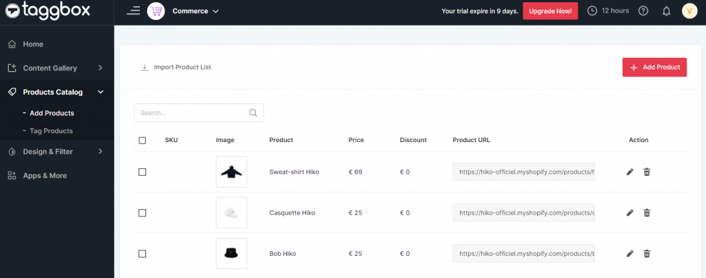 Product catalog shopify
