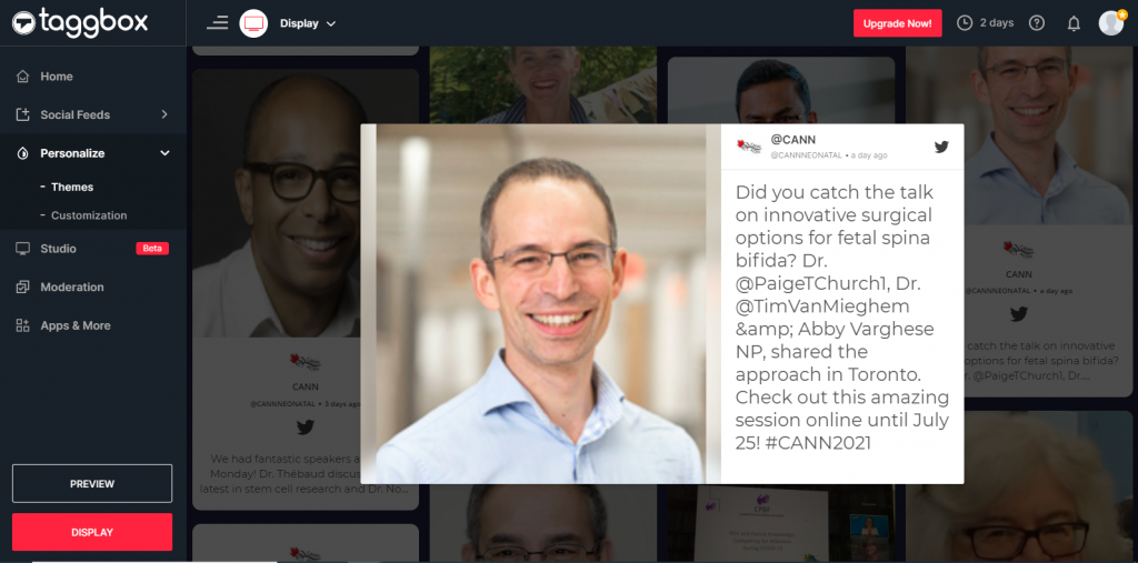 Preview of social wall